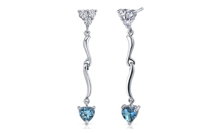 London Blue Topaz Earrings Sterling Silver Heart Shape 2 Carats SE7338