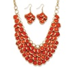 Orange Bib Necklace and Cluster Earrings Set in Yellow Gold Tone