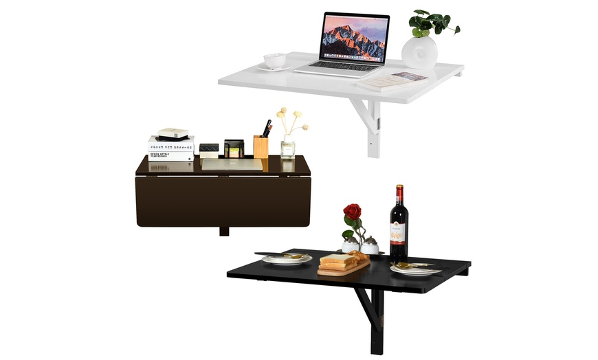 Wall Mounted Folding Drop Leaf Table Laptop Computer Desk Kitchen Dining Table