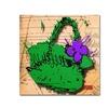 Roderick Stevens Flower Purse Purple on Green Canvas Print