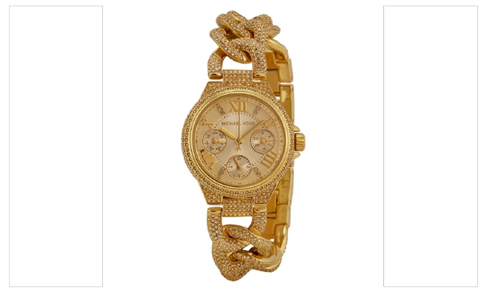 3430c8f99118 Michael Kors Women s Gold Mini Camille Twist Chain Glitz MK3330 ...