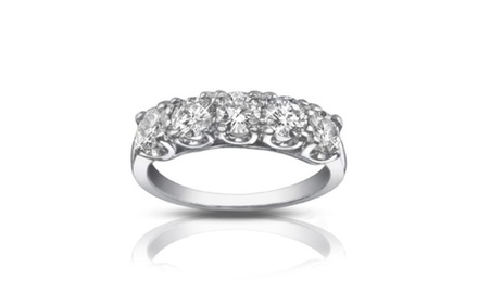 1.25 ct Five Stone Round Cut Diamond Wedding Band Ring