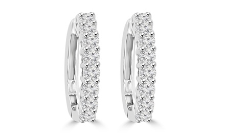 0.85 ct Ladies Round Cut Diamond Hoop Huggie Earrings
