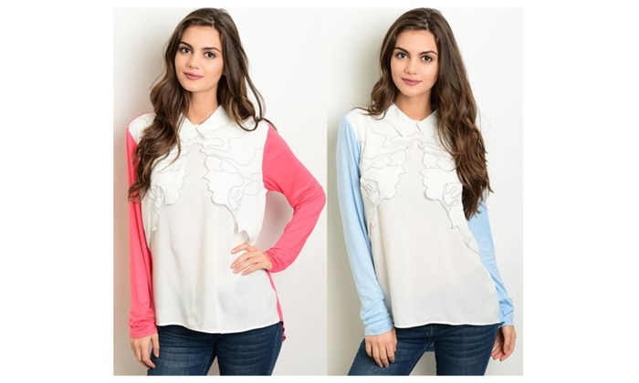 Long Sleeve Ruffle Front Detail Collared Tops