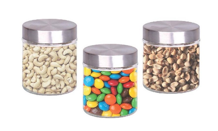 Buy It Now : 3 Pc Glass Canister With Stainless Steel Lids