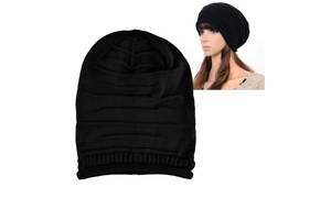 Zodaca Black Knit Baggy Beanie Hat Winter Warm Oversized Ski Cap