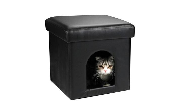 Stupendous Collapsible Pet Ottoman House Black Ottoman Dog Bed Or Cat Ottoman Inzonedesignstudio Interior Chair Design Inzonedesignstudiocom