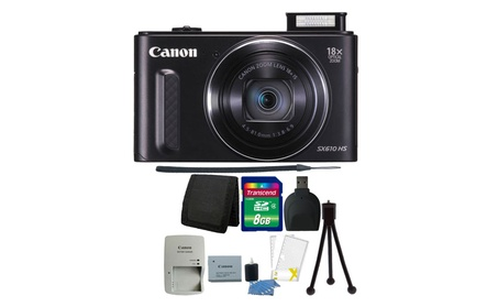Canon Powershot SX610 HS 20.2MP 18X Zoom Wifi Enabled Camera Bundle