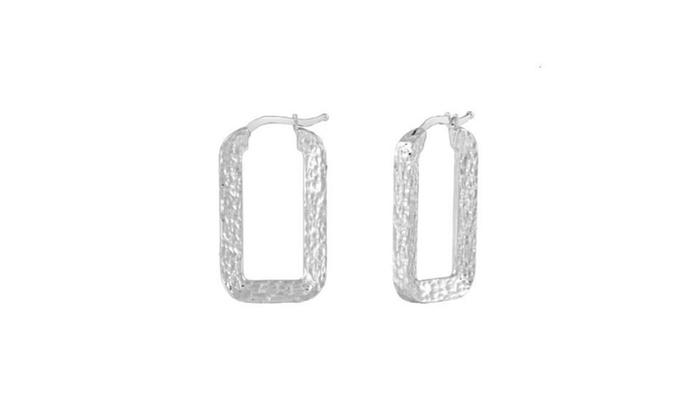 14k White Gold Hammered Finish Rectangular Hoop Earring