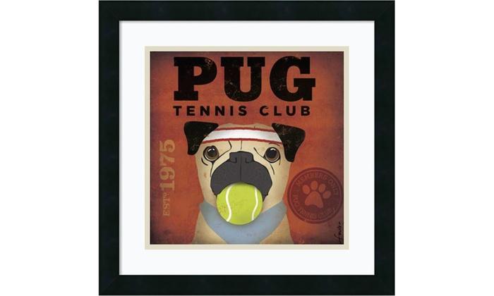 Stephen Fowler Pug Tennis Club Framed Art Print 18x18 In