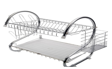 2 Tiers Kitchen Dish Cup Drying Rack Drainer Dryer Tray Cultery Holder 37d8f8c1-3418-468a-957c-57141d55e491