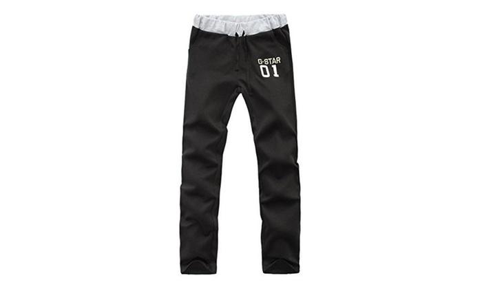 JINMIG Men's Cotton Harem Casual Pants Sports Jogging Drawstring Pants