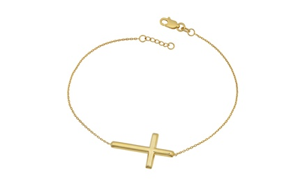 Yellow Gold Plated Silver Sideways Cross Adjustable Length Bracelet