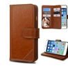 Insten Flip Genuine Leather Case stand Card Photo For iPhone 6 Brown