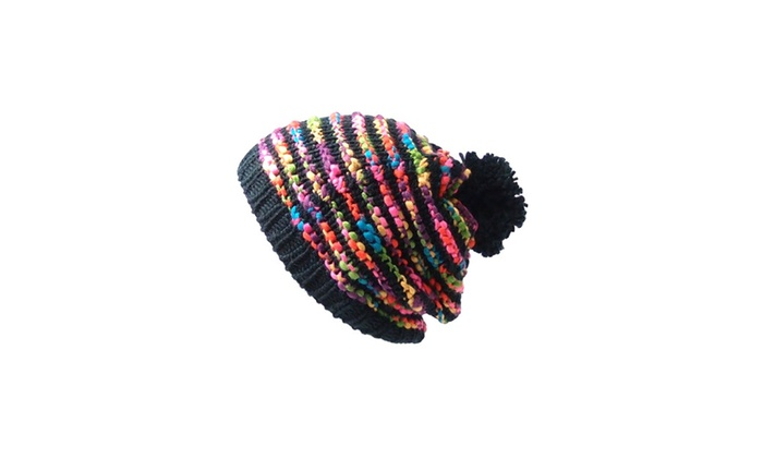 Bright Rainbow Striped Oversized Crochet Unisex Pom Beanie