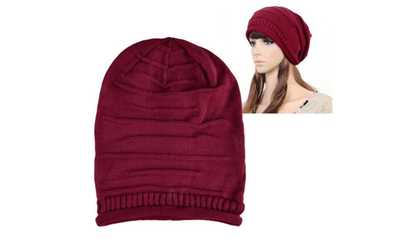 aa45c6a77dd Shop Groupon Zodaca Red Knit Baggy Beanie Beret Hat Winter Warm Oversized  Ski Cap