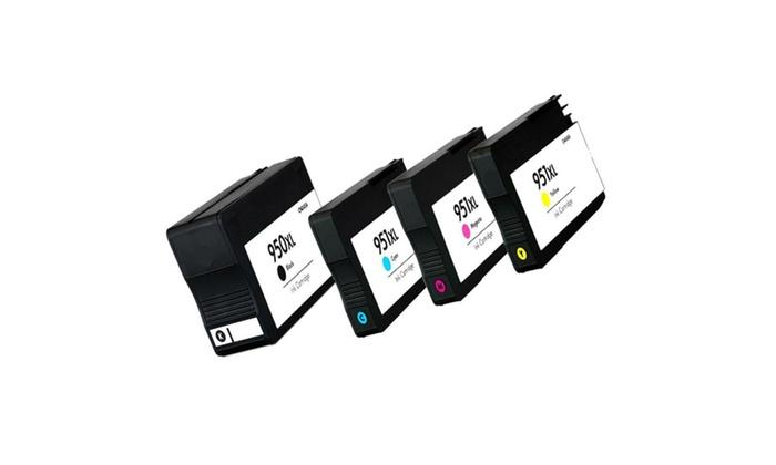 compatible hp 950xl black 951xl color ink cartridges b c m y combo pack set groupon. Black Bedroom Furniture Sets. Home Design Ideas