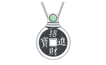 Feng Shui Lucky Coin Amulet Kanji Magic and Fortune Powers Unique Charm Pendant Necklace