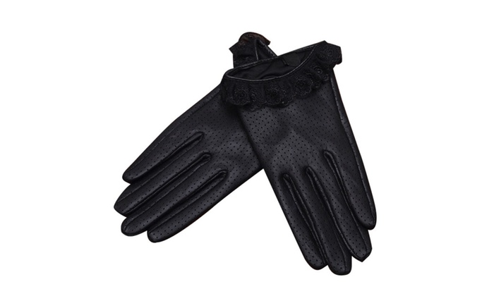 Shefetch Women's Windproof Leather Mittens - Black / One Size