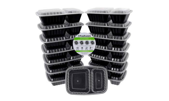 freshware 15 pack lunch box food container with 2. Black Bedroom Furniture Sets. Home Design Ideas