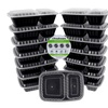 Freshware 15-Pack Lunch Box Food Container with 2-Compartments, 27 oz