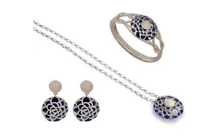 KARMIC BLUE SILVER NECKLACE,EARRING & BRACELET SET