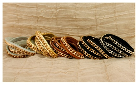 Leather & Curb Chain Triple Wrap Bracelets