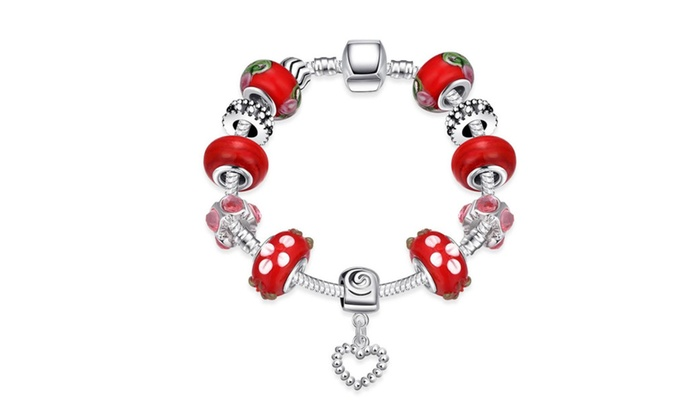 Stylinbox: Fashion Bracelets Jewelry Bangles With Red Murano Charm Beads - Silver Plated