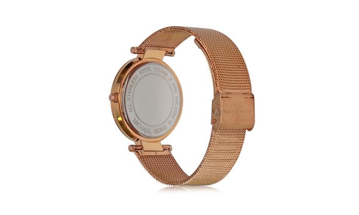 374042fb6818 Michael Kors Womens Rose Gold Darci Mesh Strap Glitz 39mm Watch MK3369