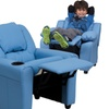 Contemporary Vinyl Kids Recliner with Cup Holder and Headrest