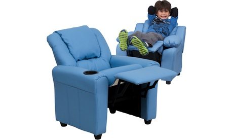 Contemporary Vinyl Kids Recliner with Cup Holder and Headrest 1c6e8a09-70bb-4883-8887-91e3ce30ec68