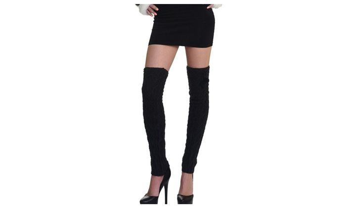 Pair of Thigh High Woven Legwarmers with Pom Accents by Somek