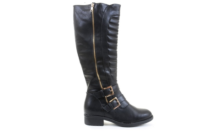 Quilted Leatherette Strap Riding Vegan Knee Boot