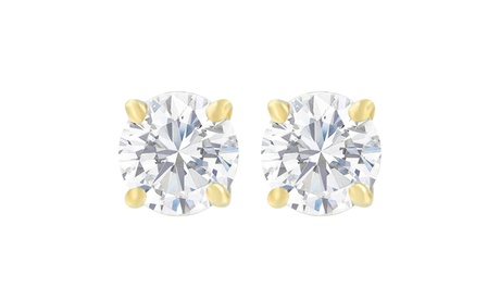 14K Yellow Gold 1.00cttw Diamond Solitaire Certified Stud Earrings(H-I,SI2-I1)