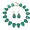 """Teal Pear-Cut Crystal Yellow Gold Tone Necklace and Earrings Set 17"""""""