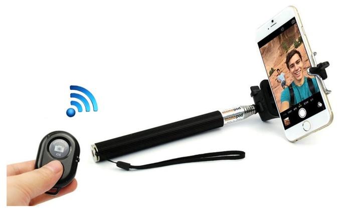 selfie stick with bluetooth remote for smartphones groupon. Black Bedroom Furniture Sets. Home Design Ideas
