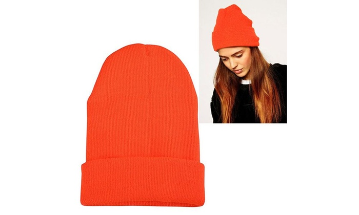 Zodaca Orange Unisex Knitted Beanie Fashion Hat