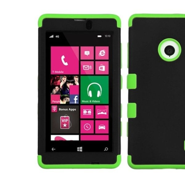 Insten Rubberized Black/Green Hybrid Case For NOKIA 521 Lumia 521