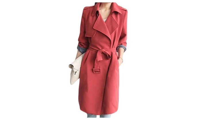 Women's Fashion Turn Down Collar Red Long Trench Coat With Belt