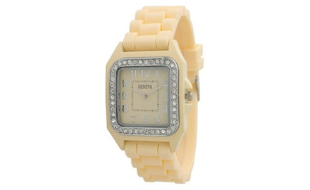 Geneva Women's Ultra-Chic Rhinestone Bezel Watch with Silicone Strap - Assorted Colors