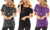 Leo Rosi Women's Alicia Twist-Front Cold Shoulder Top. Plus Sizes Available.