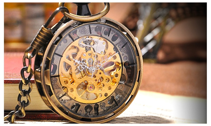 Steampunk pocket watch  Steampunk Pocket Watch - Mechanical Hand Wind Skeleton Watch | Groupon