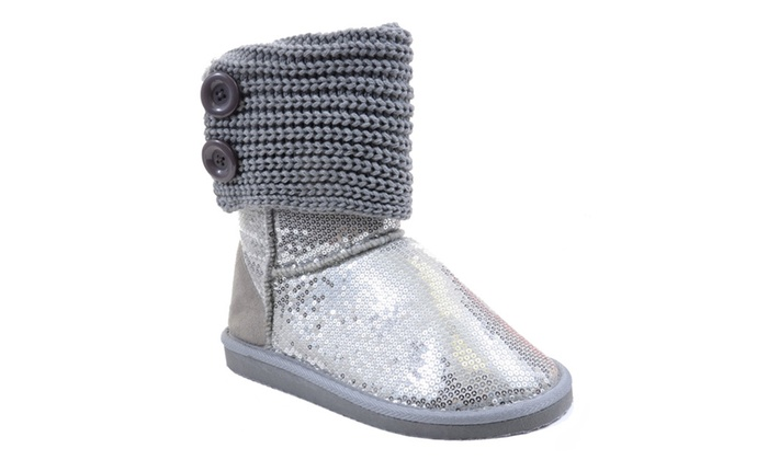Sequin Crochet Slouchy Knit Sweater Button Flat Boot Silver