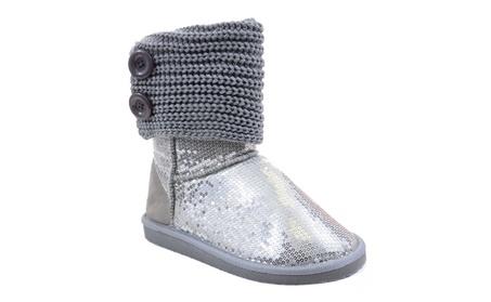 Sequin Crochet Slouchy Knit Sweater Button Flat Boot Silver ed206423-e4ec-44d7-9e43-4e607b94c6d6