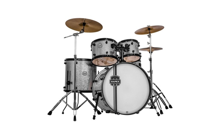 Mapex Voyager Rock 5 Piece Drum Set W Cymbals Crystal Sparkle
