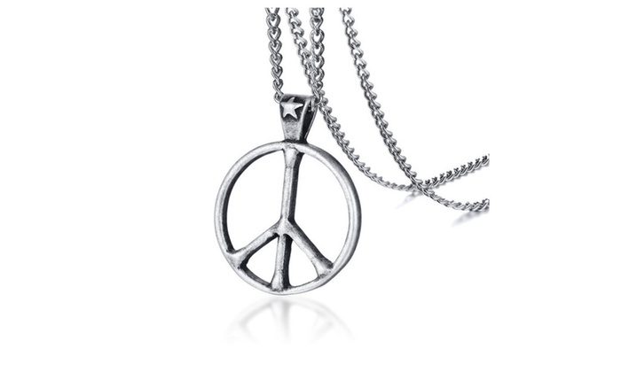 Up to 70 off on vintage peace symbol pendant groupon goods vintage peace symbol pendant men retro silver stainless steel necklace aloadofball Images