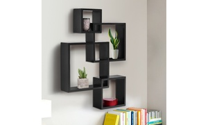 Black Intersecting 4 Square Floating Shelf Wall Mounted Home Furniture Decor