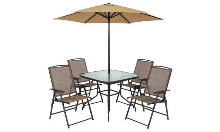 6pc Outdoor Folding Patio Dining Set With Table 4 Chairs Umbrella