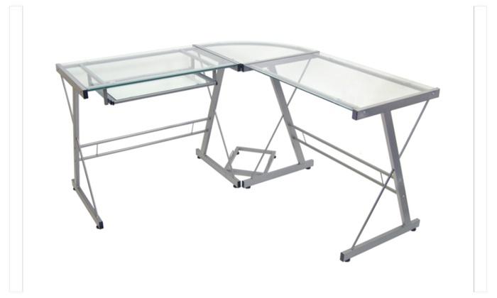 Atrium Metal And Glass L Shaped Computer Desk