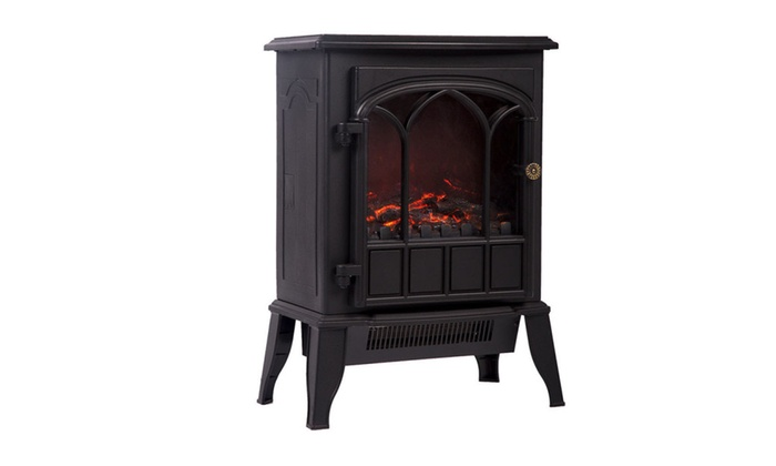 750w 1500w Standing Electric Fireplace Heat Log Flame Stove Portable